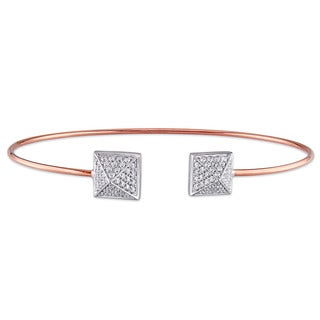 Miadora Signature Collection 18k Two-tone Gold 5/8ct TDW Diamond Cuff Bangle (G-H, SI1-SI2)