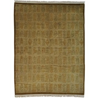Handmade Wool Oriental Beige Rectangle Rug (9'2 x 12')