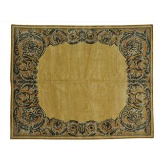 Handmade Wool Oriental Gold Rectangle Rug (8' x 10')