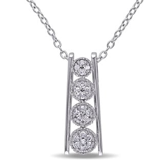 Miadora Sterling Silver 1/10ct TDW Diamond Journey Necklace (G-H, I2-I3)