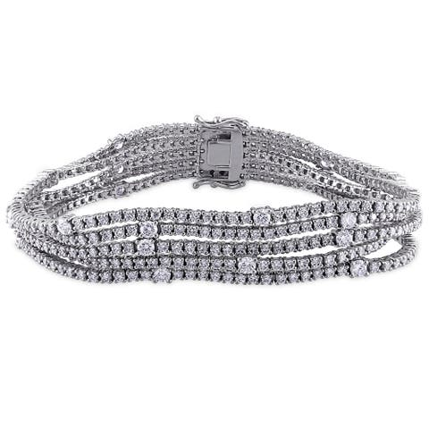 Miadora Signature Collection 18k White Gold 7 7/8ct TDW Diamond 5-row Tennis Bracelet