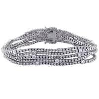 Miadora Signature Collection 18k White Gold 7 7/8ct TDW Diamond 5-row Tennis Bracelet