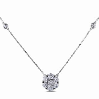 Miadora 14k White Gold 1 1/2ct TDW Diamond Cluster Necklace