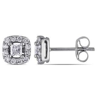 Miadora 10k White Gold 1/2ct TDW Princess-cut Diamond Halo Stud Earrings