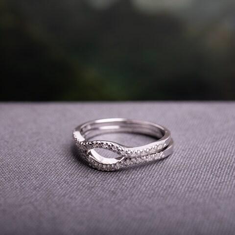 Miadora Sterling Silver 1/10ct TDW Diamond Open-circle Wedding Band Set
