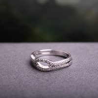 Miadora Sterling Silver 1/10ct TDW Diamond Open-circle Wedding Band Set