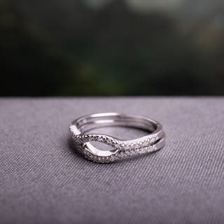 Miadora Sterling Silver 1 10ct Tdw Diamond Open Circle Wedding Band Set