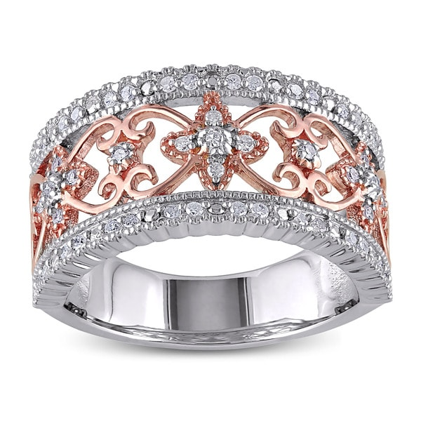 Miadora Two-tone Silver 1/4ct TDW Vintage Diamond Ring