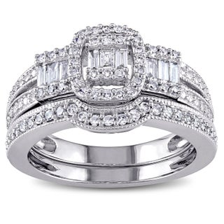 Miadora 10k White Gold 1/2ct TDW Diamond Bridal Ring Set (5 options available)