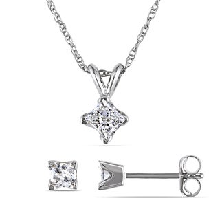 Miadora 14k White Gold 5/8ct TDW Princess-cut Diamond Solitaire Earrings and Necklace Set