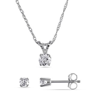 Miadora 14k White Gold 2/5ct TDW Diamond Solitaire Earrings and Necklace Set