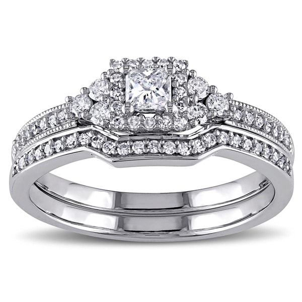 Miadora Signature Collection 14k White Gold 5/8ct TDW Princess-cut Diamond Certified Bridal Ring Set (G-H, I1-I2) (IGL)