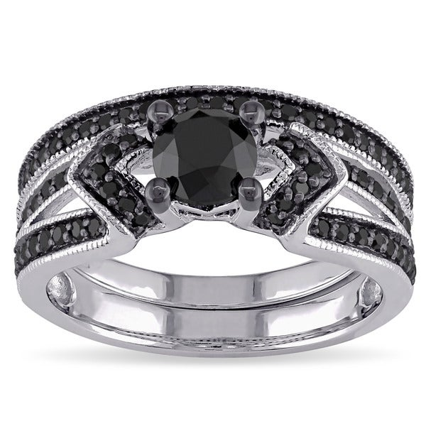 miadora sterling silver 1 18ct tdw black diamond bridal ring set - Sterling Silver Diamond Wedding Ring Sets