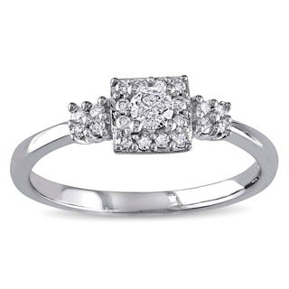 Miadora 10k White Gold 1/4ct TDW Diamond Engagement Ring