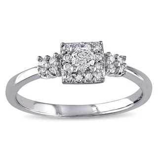 Miadora 10k White Gold 1/4ct TDW Diamond Engagement Ring (G-H, I2-I3)