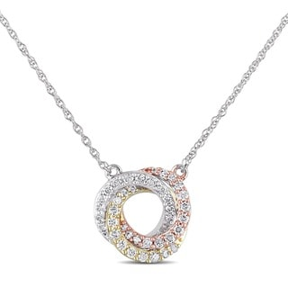 Miadora 10k White, Yellow, and Pink Gold 1/4ct TDW Diamond Circle Necklace