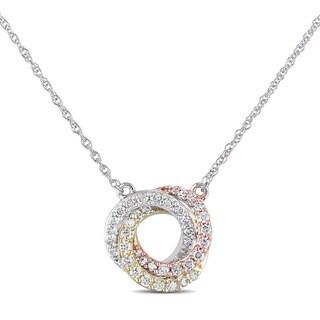 Miadora 10k White, Yellow, and Pink Gold 1/4ct TDW Diamond Circle Necklace