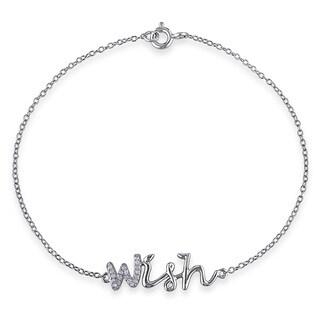 Miadora Sterling Silver Diamond Accent 'Wish' Bracelet