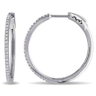 Miadora 10k White Gold 2/5ct TDW Diamond Hoop Earrings (G-H, I2-I3)