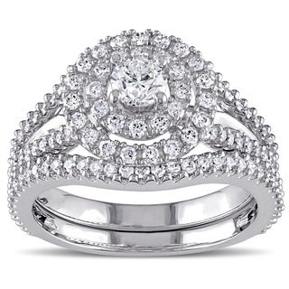 Miadora Signature Collection 14k White Gold 1 1/5ct TDW Diamond Double Halo Bridal Ring Set