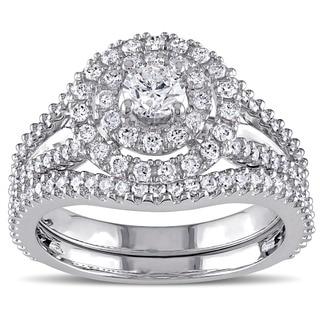 Miadora Signature Collection 14k White Gold 1 1/5ct TDW Diamond Double Halo Bridal Ring Set (G-H,I1-I2)