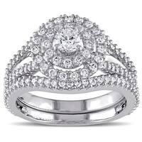 Miadora Signature Collection 14k White Gold 1 1/5ct TDW Diamond Double Halo Bridal Ring Set