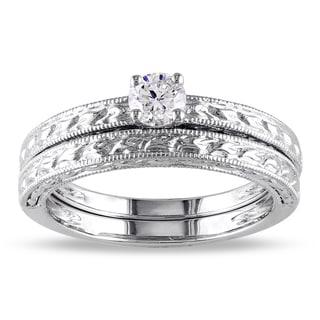 Miadora Signature Collection 14k White Gold 1/3ct TDW Diamond Bridal Ring Set (G-H, I1-I2)