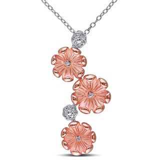 Miadora Two-tone Sterling Silver Diamond Accent Flower Necklace