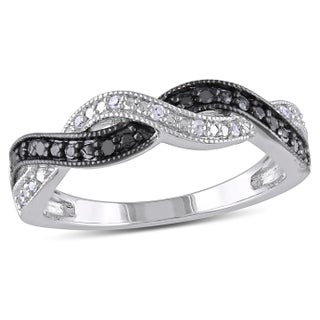 Miadora Sterling Silver Black and White Diamond Infinity Cross Over Ring (5 options available)