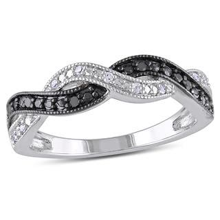 miadora sterling silver black and white diamond infinity cross over ring - Cross Wedding Rings