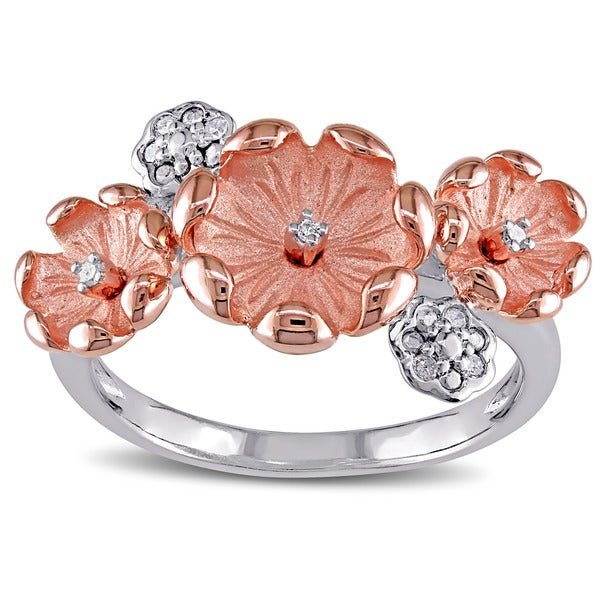 Miadora Two-tone Sterling Silver Diamond Accent Flower Ring