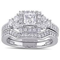 Miadora Signature Collection 14k White Gold 1 1/4ct TDW Princess-cut Diamond Halo Bridal Ring Set