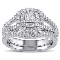 Miadora Signature Collection 14k White Gold 1 1/5ct TDW Princess-cut Diamond Double Halo Bridal Ring