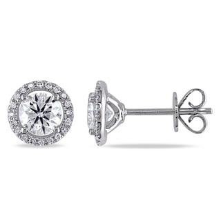 Miadora 14k White Gold 1 1/6ct TDW Diamond Halo Stud Earrings