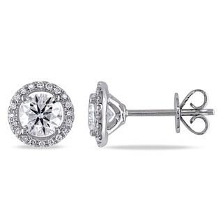 Miadora 14k White Gold 1 1/6ct TDW Diamond Halo Stud Earrings