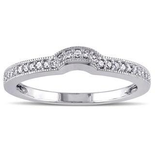 Miadora 10k White Gold 1/8ct TDW Diamond Curved Wedding Band