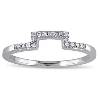 Miadora 10k White Gold 1/10ct TDW Diamond Curved Wedding Band