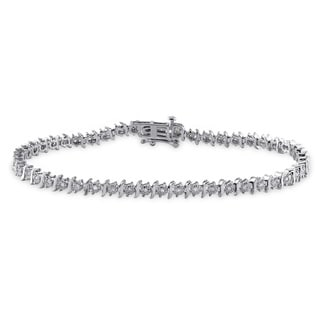 Miadora 10k White Gold 1ct TDW Diamond Tennis Bracelet (J-K, I2-I3)