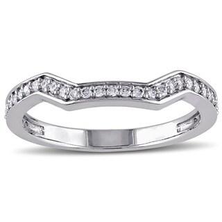 Miadora 14k White Gold 1/5ct TDW Diamond Curved Wedding Band