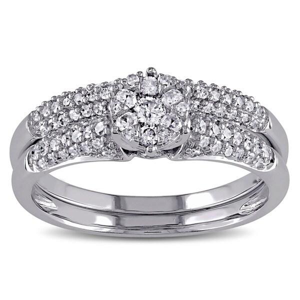 Miadora 14k White Gold 1/2ct TDW Diamond Cluster Bridal Ring Set (G-H, I1-I2)