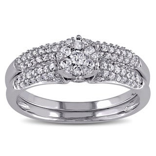 Miadora 14k White Gold 1/2ct TDW Diamond Cluster Bridal Ring Set (G-H, I1-I2)