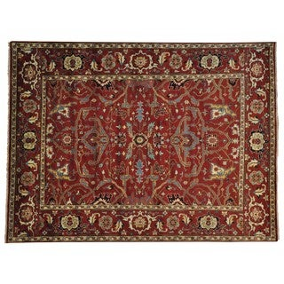 Handmade Wool Oriental Red Rectangle Rug (9' x 12')