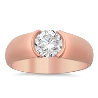 14k Rose Gold Men's 1 1/2ct Certified Diamond Wedding Ring (G, SI3)