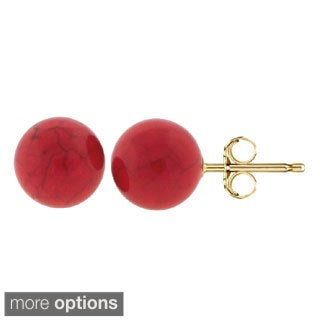 Pori 14k Yellow Gold Coral Ball Stud Earrings