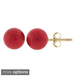 Pori 14k Yellow Gold Coral Ball Stud Earrings