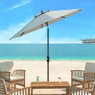 Safavieh Ortega Natural Aluminum Tilt And Crank 9 Foot Patio Umbrella