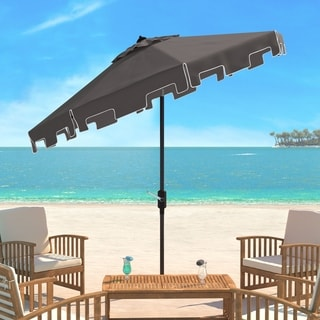 Safavieh Zimmerman Grey Aluminum Tilt and Crank 9-foot Crank Market Patio Umbrella With Flap