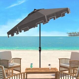 Safavieh Zimmerman Grey Aluminum Tilt And Crank 9 Foot Crank Market Patio  Umbrella With Flap