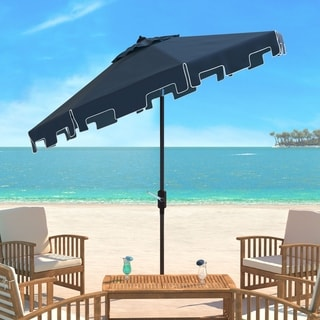 High Quality Safavieh Zimmerman Navy Aluminum Tilt And Crank 9 Foot Crank Market Patio  Umbrella With Flap