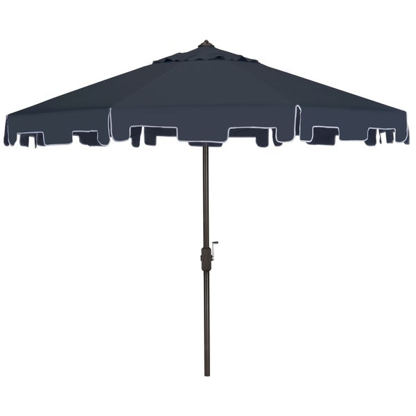 Safavieh Zimmerman Navy Aluminum Tilt And Crank 9 Foot Crank Market Patio  Umbrella With Flap